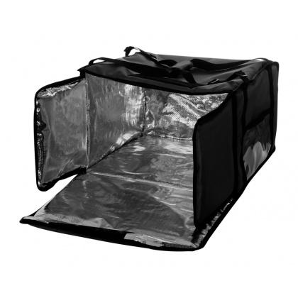 Термосумка на 9-10 пицц 450х450х500 мм фольгированная черная с вентиляцией