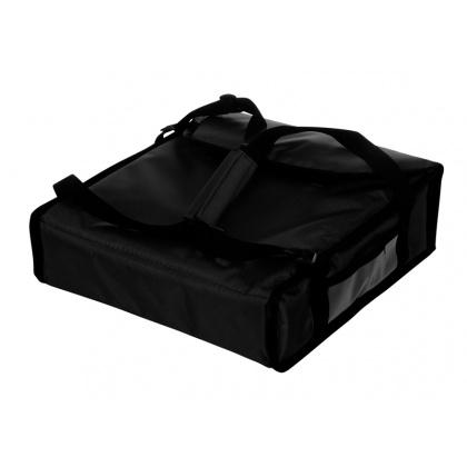 Термосумка на 2 пиццы 350х350х100 мм фольгированная средняя черная без вентиляции