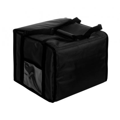 Термосумка на 5-6 пицц 350х350х300 мм фольгированная средняя черная с вентиляцией