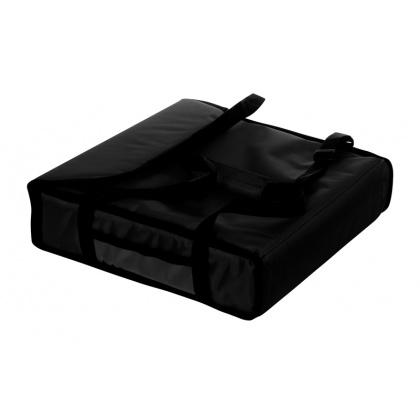 Термосумка на 2 пиццы 420х420х100 мм фольгированная большая черная с вентиляцией
