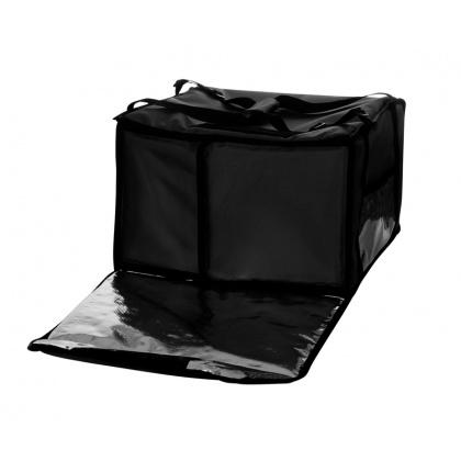 Термосумка на 5-6 пицц 450х450х300 мм фольгированная XXL черная без вентиляции