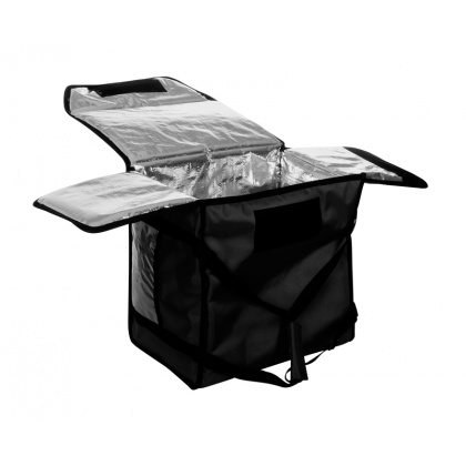 Термосумка на 5-6 пицц 420х420х300 мм фольгированная большая черная без вентиляции