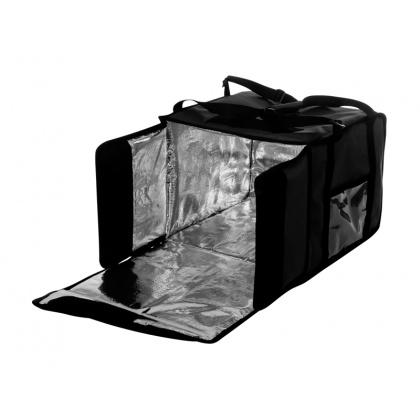 Термосумка на 9-10 пицц 350х350х500 мм фольгированная черная с вентиляцией