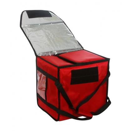 Термосумка на 9-10 пицц 350х350х500 мм фольгированная красная с вентиляцией