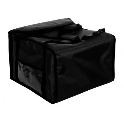 Термосумка на 9-10 пицц 420х420х500 мм фольгированная черная с вентиляцией