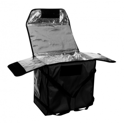 Термосумка для обедов 450х200х300 мм фольгированная черная