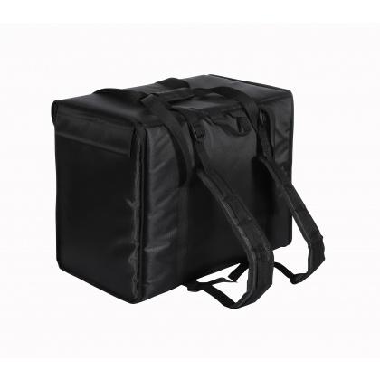 Терморюкзак 420х420х400 мм для пицц фольгированный черный с вентиляцией