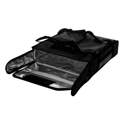 Термосумка на 2 пиццы 420х420х100 мм фольгированная большая черная без вентиляции