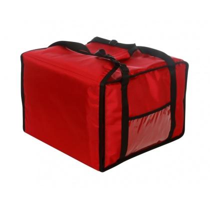 Термосумка на 5-6 пицц 420х420х300 мм фольгированная большая красная без вентиляции