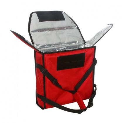 Термосумка на 2 пиццы 350х350х100 мм фольгированная средняя красная без вентиляции