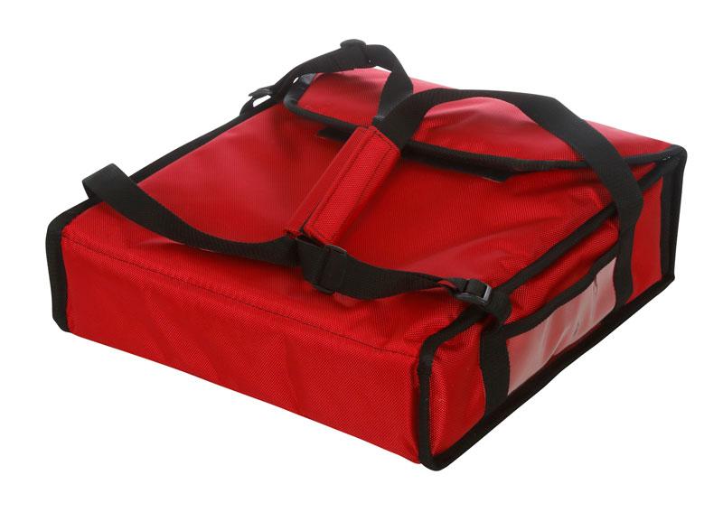 Термосумка на 2 пиццы 350х350х100 мм фольгированная средняя красная с вентиляцией