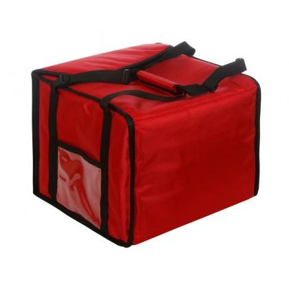 Термосумка на 5-6 пицц 350х350х300 мм фольгированная средняя красная с вентиляцией