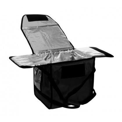 Термосумка на 5-6 пицц 350х350х300 мм фольгированная средняя черная без вентиляции