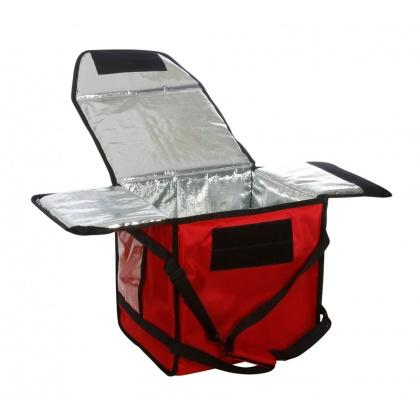 Термосумка на 5-6 пицц 350х350х300 мм фольгированная средняя красная без вентиляции
