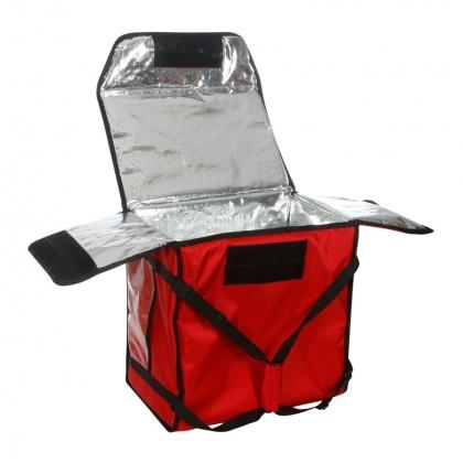 Термосумка на 5-6 пицц 450х450х300 мм фольгированная XXL красная без вентиляции
