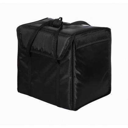 Терморюкзак 350х350х400 мм для пицц фольгированный черный с вентиляцией