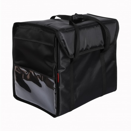 Терморюкзак 450х450х400 мм для пицц фольгированный черный с вентиляцией